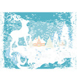 Abstract Christmas frame with reindeer vector image