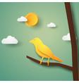 bird on branch paper art style vector image