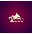 Boat and sea wave icon vector image