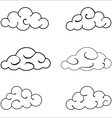 Clouds black outlined set isolated on white vector image