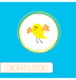 Congratulations card with cute yellow bird vector image