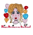 girl with birthday BALOONS vector image