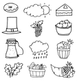 Collection stock thanksgiving set on doodles vector image