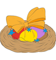 Easter eggs in a decorative nest vector image