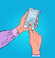 pop art woman hands using smart phone vector image
