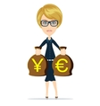 Business woman holding bags of money vector image