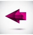 3d magenta left arrow vector image vector image