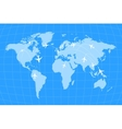 Airline routes on worldwide map blue and white vector image