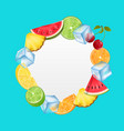 round fruit frame with ice cubes pineapple vector image