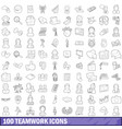 100 teamwork icons set outline style vector image