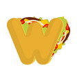letter w tacos mexican fast food font taco vector image