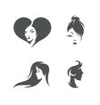 Women faces symbols set vintage vector image