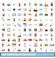 100 construction icons set cartoon style vector image