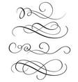 set of vintage flourish decorative art calligraphy vector image vector image