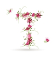 Floral letter T for your design vector image vector image