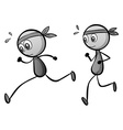 Two boys running on white vector image vector image