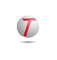 Glossy T in Sphere Logo vector image vector image