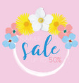 flower banner with text summer sale on pink vector image