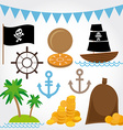 Marine Pirate set on white background vector image