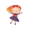 red-haired fairy girl with wings and cute elf ears vector image