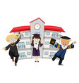 students in graduation outfit at school vector image
