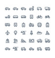 thin line icons set with public transport vector image