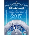 Merry Christmas and New year 2017 flyer Greeting vector image