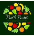 Fresh fruits round organic fruit poster vector image
