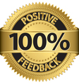 100 percent positive feedback gold label vector image vector image