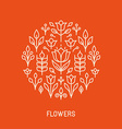 line logo with flowers vector image