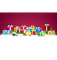 Christmas background with colorful gift boxes vector image