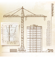 Architectural background with a crane vector image vector image