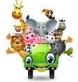 animal cartoon in green car vector image vector image