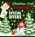 christmas holiday sale shop promo poster vector image