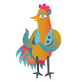colorful cock in cartoon style vector image