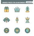 Icons line set premium quality of awards prizes vector image