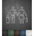 pair of emigrants icon Hand drawn vector image