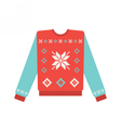 Ugly christmas sweater with snowflake pattern vector image