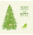 Christmas card with spruce and pinecone vector image