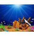 Ancient broken ship undersea vector image
