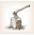 Axe in the stump hand drawn sketch style vector image