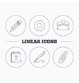 Briefcase pencil and safety pin icons vector image
