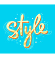 bright yellow lettering style on blue bac vector image