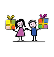 children with packet vector image