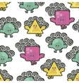 Pattern with cute birds in the sky with clouds vector image