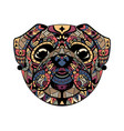 pug head zentangle stylized vector image