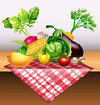 Fresh vegetables and fruit on table vector image