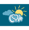 word love with heart on cloud vector image
