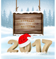 Happy New Year 2017 background with a wooden sign vector image