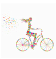 silhouette of a girl on a bicycle vector image